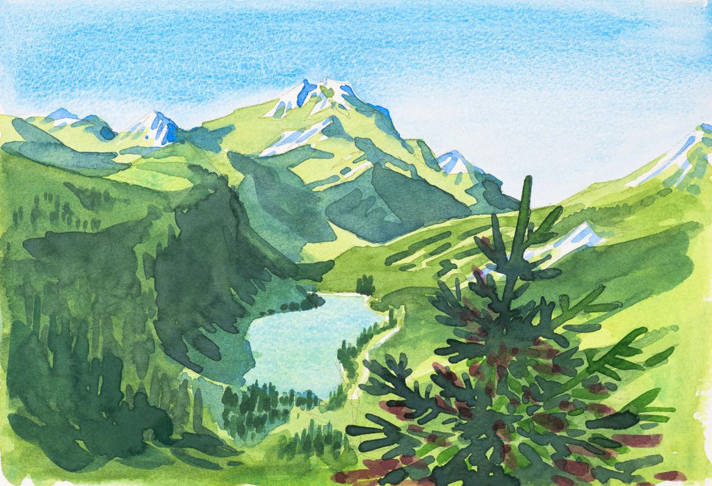 """The Emerald Lake Morzine"" Original by Sarah Bell"