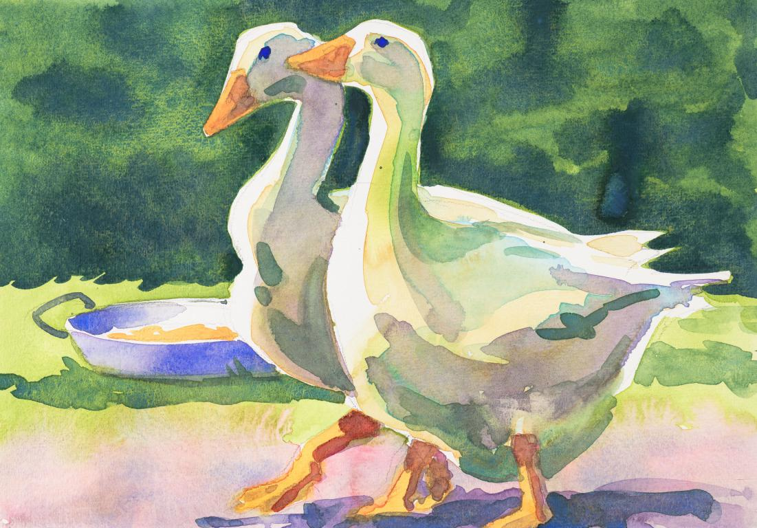 """Sampson and Delilah Pair of Emden Geese"" Original by Sarah Bell"