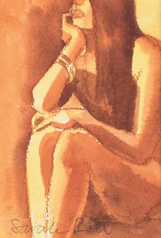 """Nude 2"" ""by Sarah Bell-Original Watercolour and Pastel on Tinted Paper"
