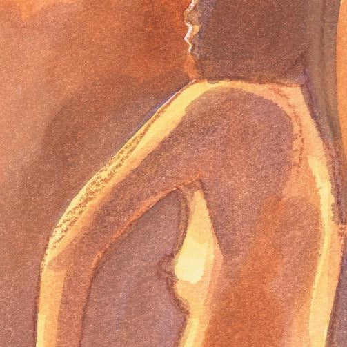 """Nude 3"" ""by Sarah Bell-Original Watercolour and Pastel on Tinted Paper"