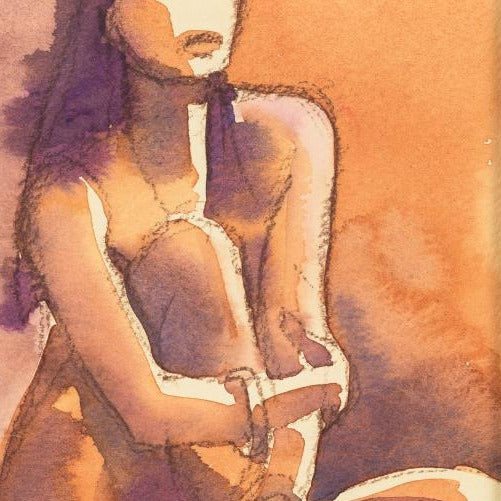 """Nude 4 ""by Sarah Bell-Original Watercolour and Pastel on Tinted Paper"