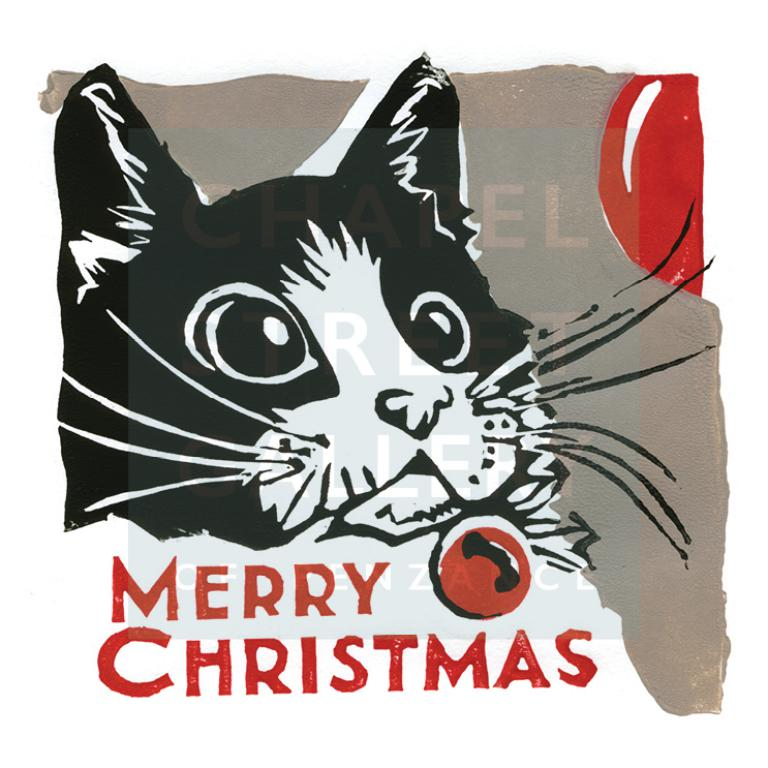 Christmas Cat From an original Lino Cut by Sarah Bell