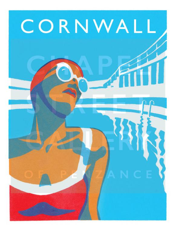 'Lido Glamour Cornwall 1' Signed Sarah Bell A4 Giclee Print