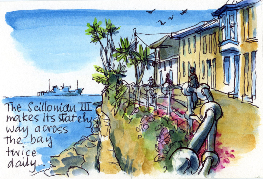 """Scillonian 3 off across the Bay""(Mousehole Collection) Blank Inside"