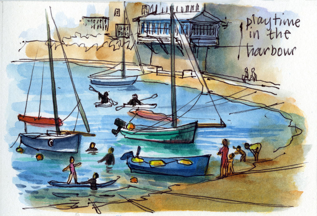 """Playtime in the Harbour""(Mousehole Collection) Blank Inside"