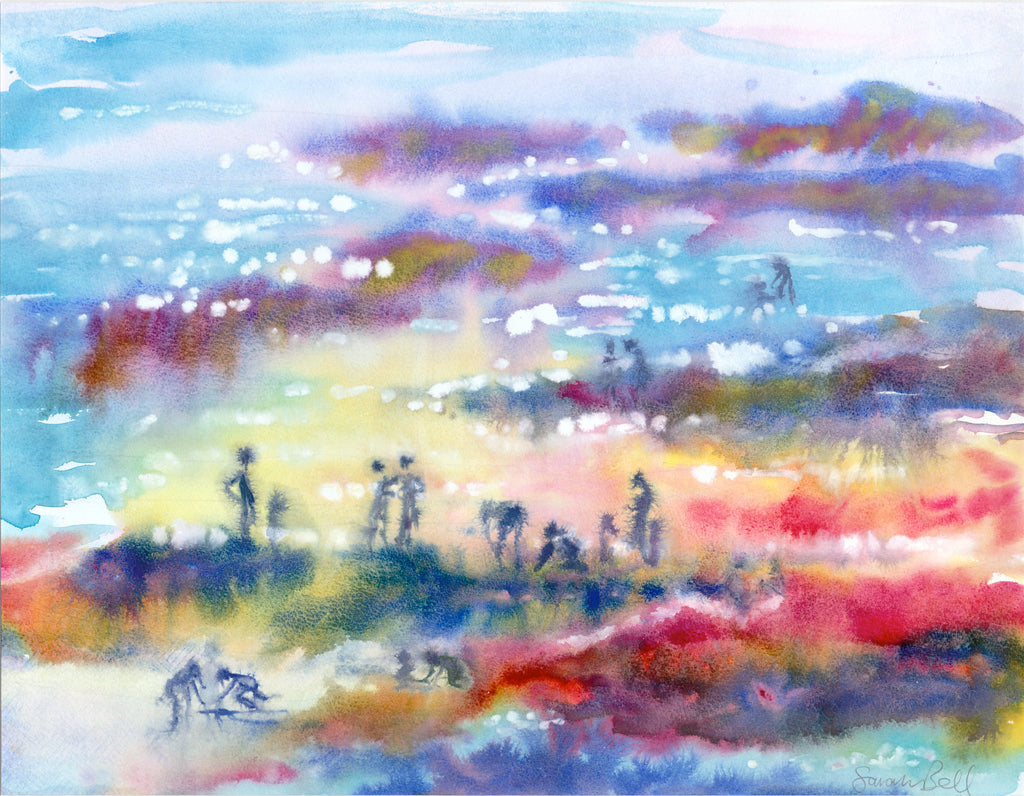 """Family Rock Pooling"" Sarah Bell Canvas Watercolour."