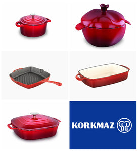 Korkmaz Plaque de cuisson  Casterra Korkmaz Casterra Fry Pan, Cast Iron with a Ceramic Coating - 10 Inch/A1478