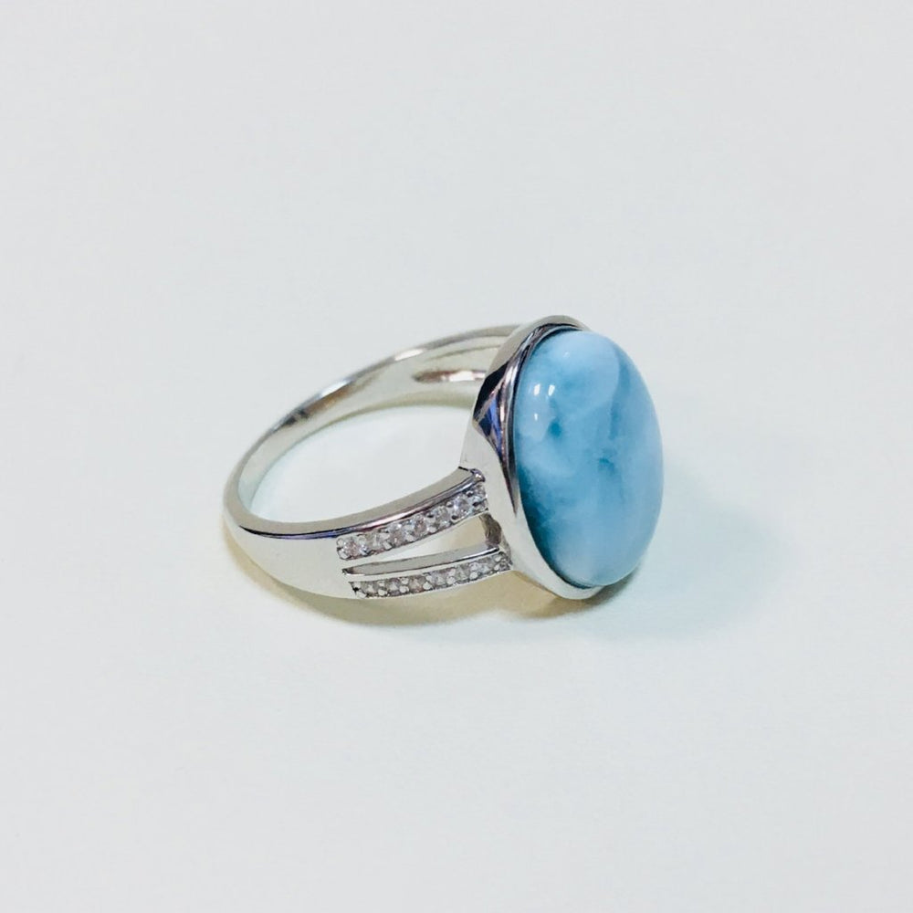 Oval Larimar and CZ  Ring - Open Band