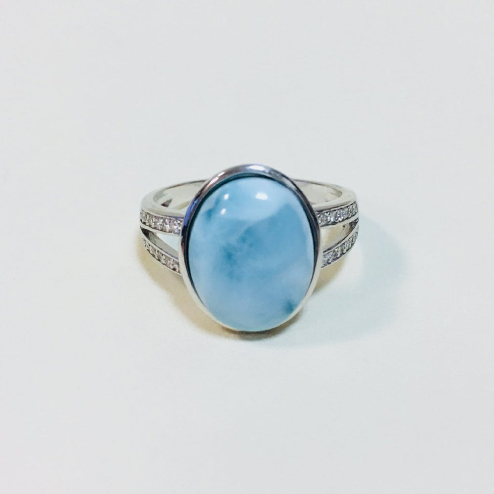 Oval Larimar and CZ Sterling Silver Ring - Open Band