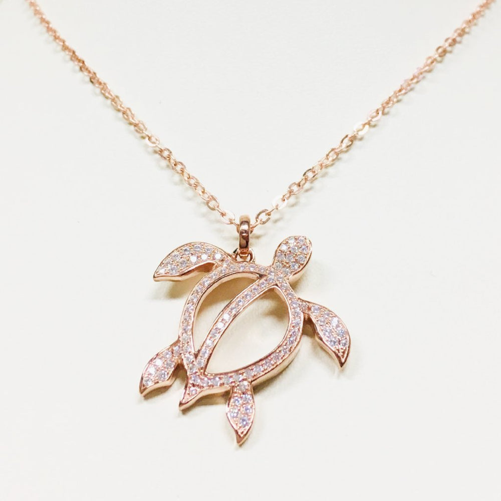 Rose Gold Sea Turtle Necklace - Alamea