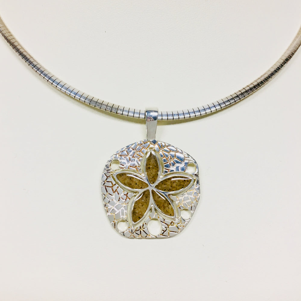 Natural Sand Dollar Necklace - Outer Banks Sand