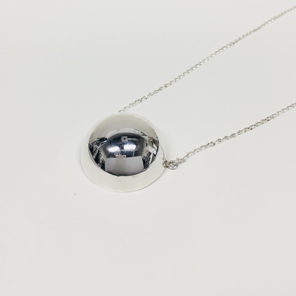 Stationary Silver Ball Necklace - Mexico Silver