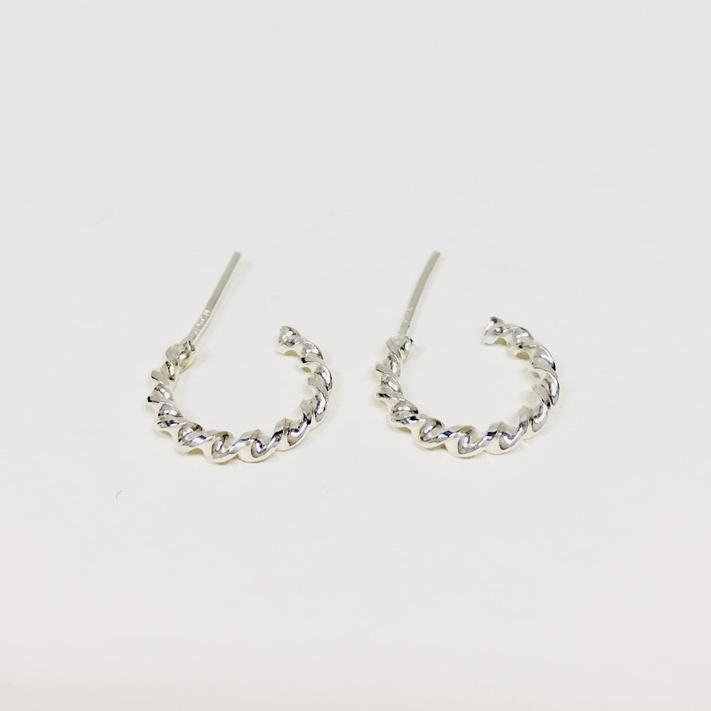 Small Twisted Hoop Earrings -  Mexico Silver