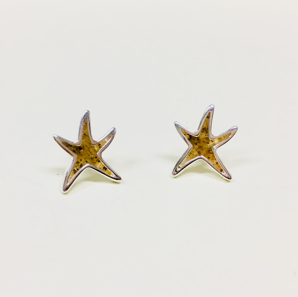 Delicate Starfish Stud Earrings - Outer Banks Sand