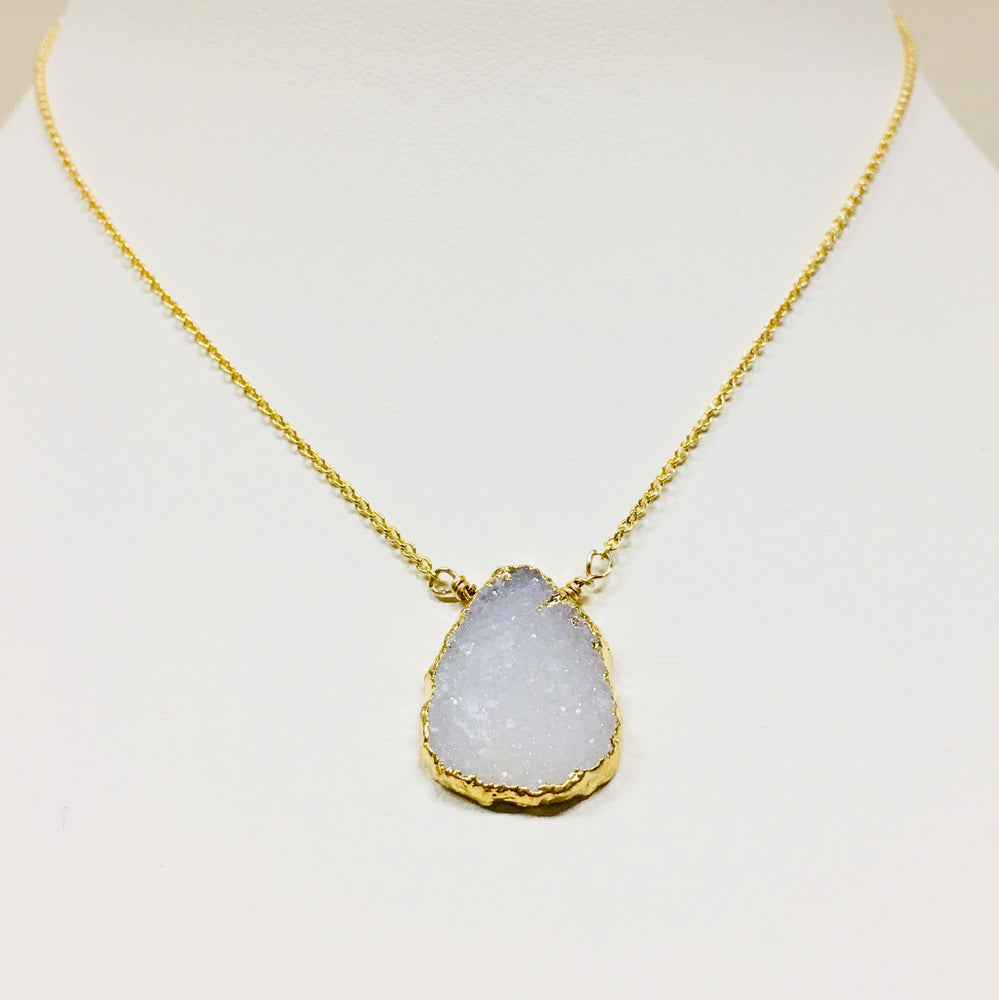 White Druzy on Gold Necklace