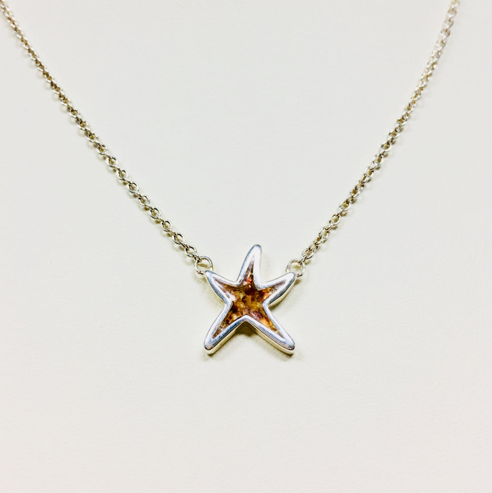 Delicate Starfish Shaped Stationary Necklace - Sterling Silver