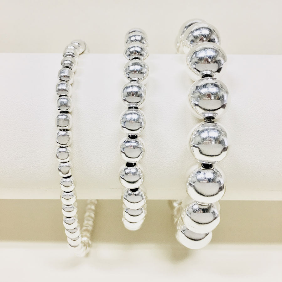 5, 8, 12mm Silver Beaded Toggle Bracelets