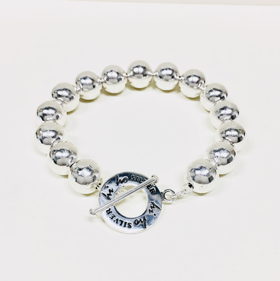 12mm Silver Beaded Toggle Bracelet