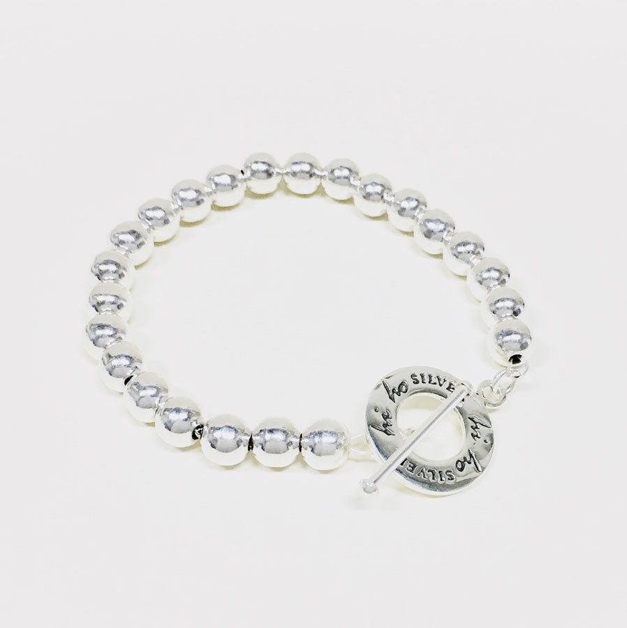8mm Silver Beaded Toggle Bracelet