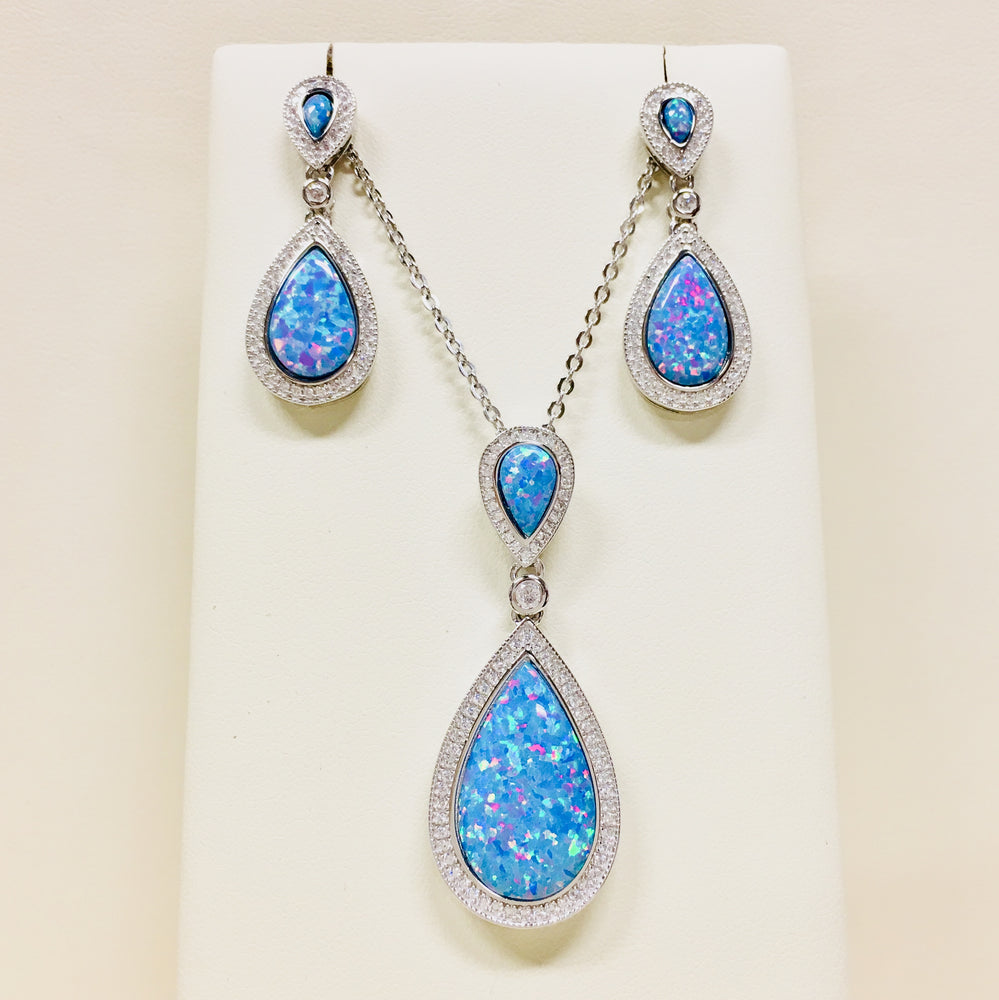 Blue Opal Cubic Zirconia Teardrop Necklace