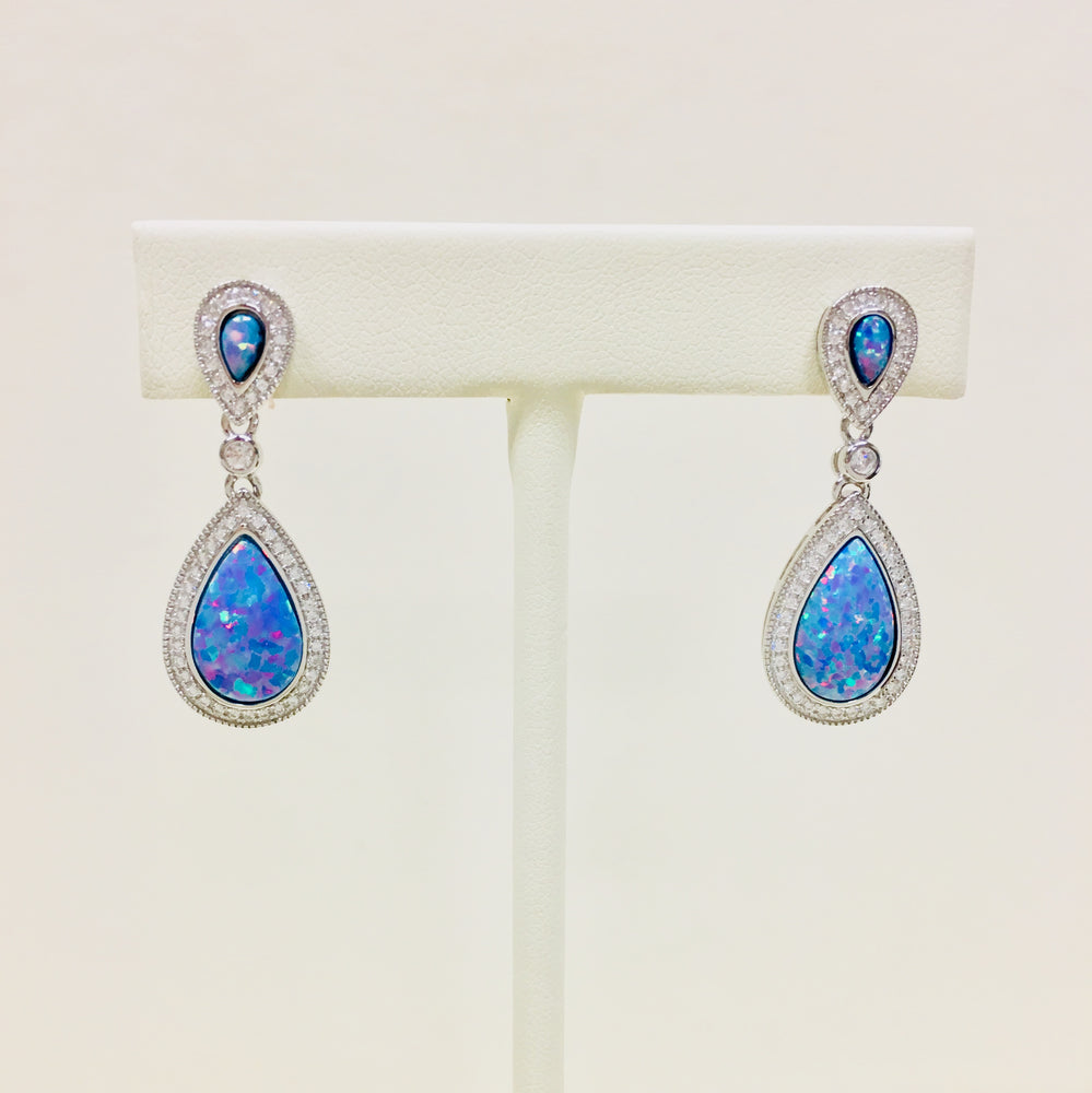 Blue Opal Cubic Zirconia Teardrop Earrings