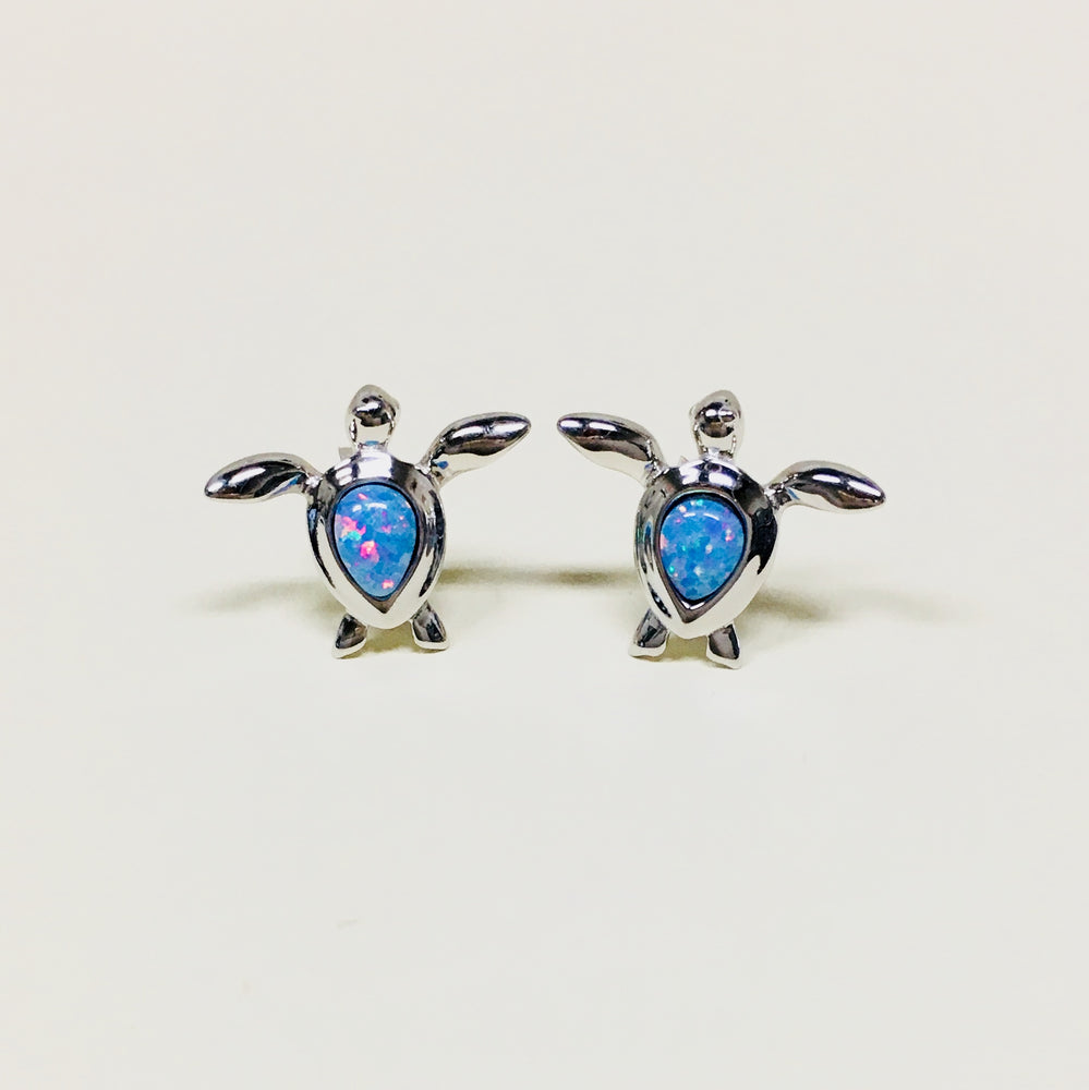 Opal Sea Turtle Stud Earrings
