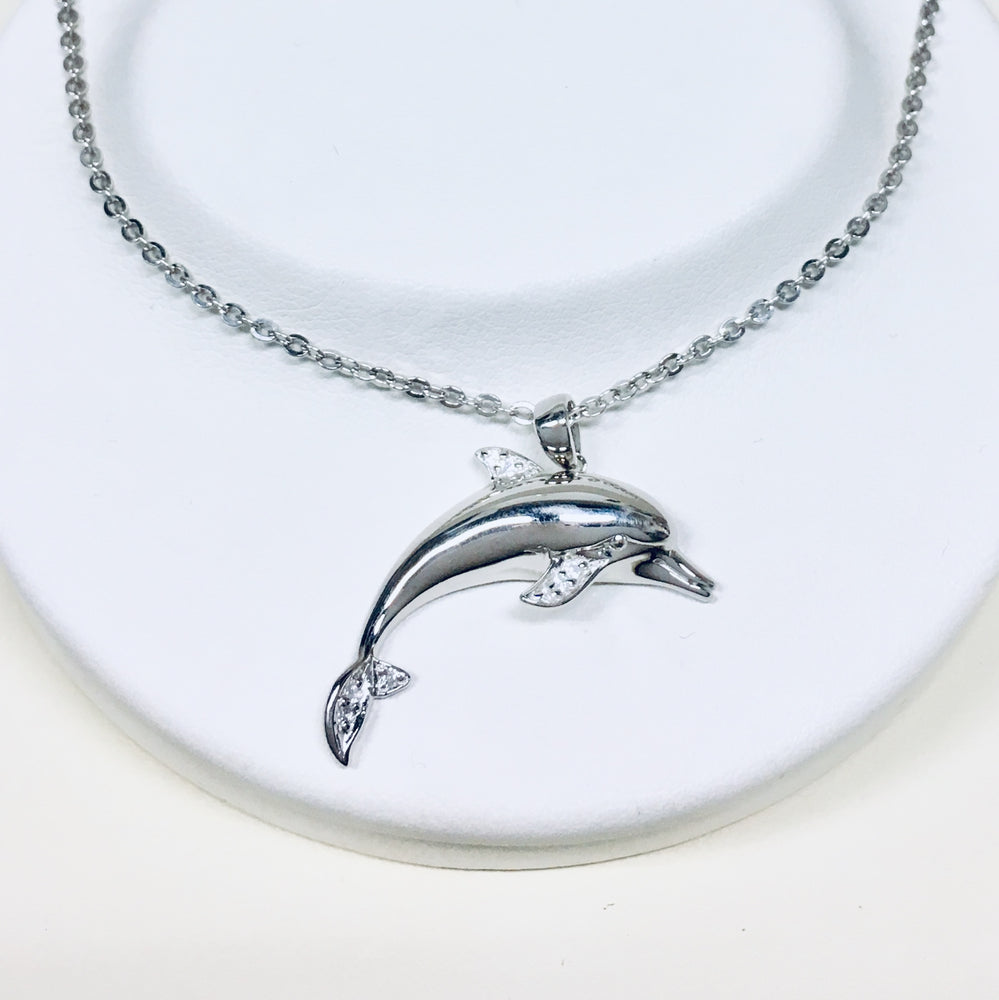 Silver and CZ Dolphin Necklace
