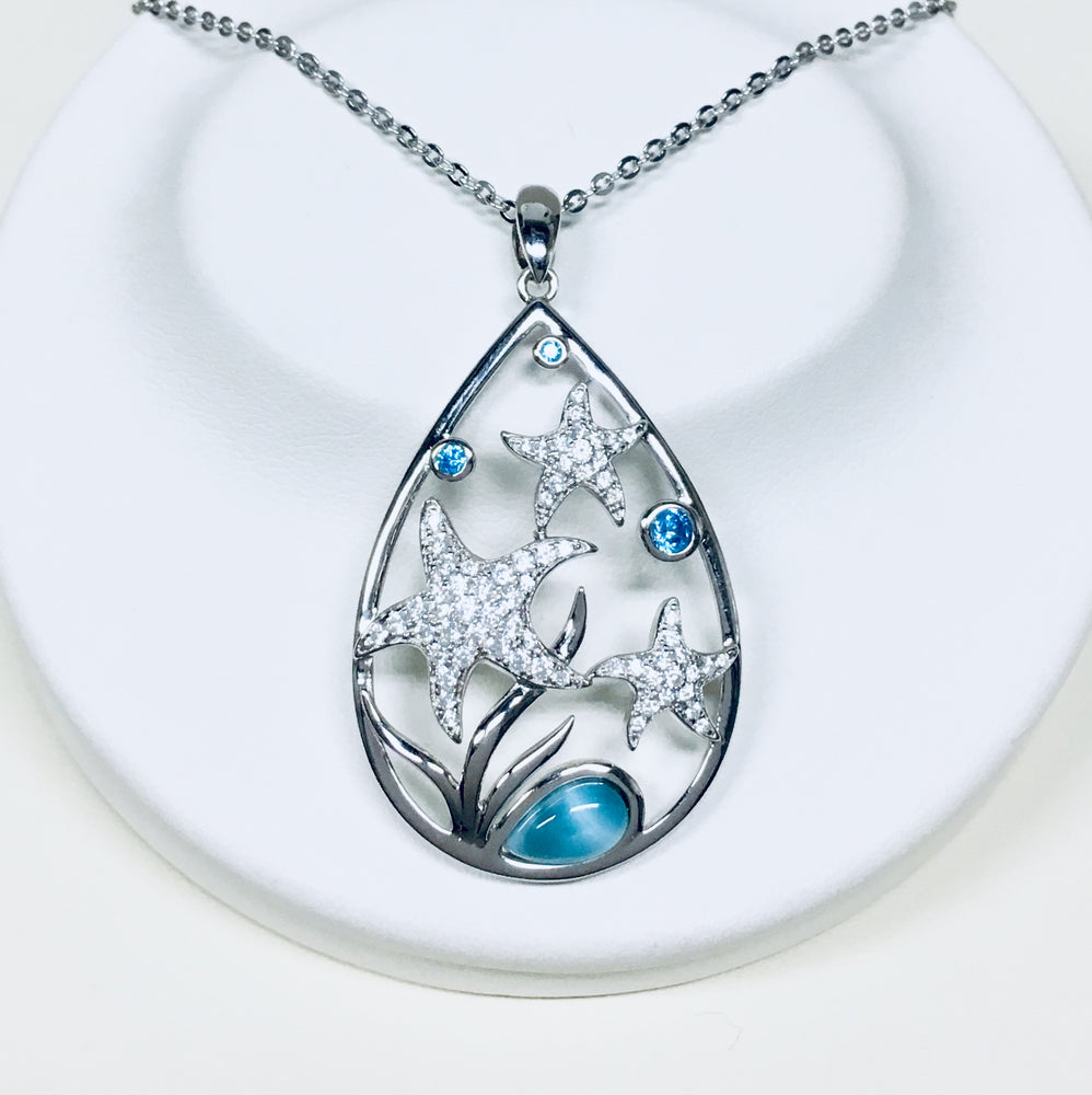 Larimar and CZ Starfish Necklace