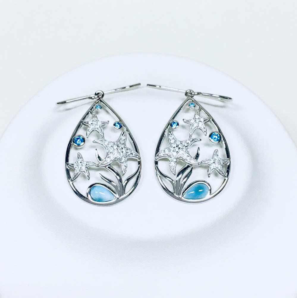 Larimar and CZ Starfish Earrings