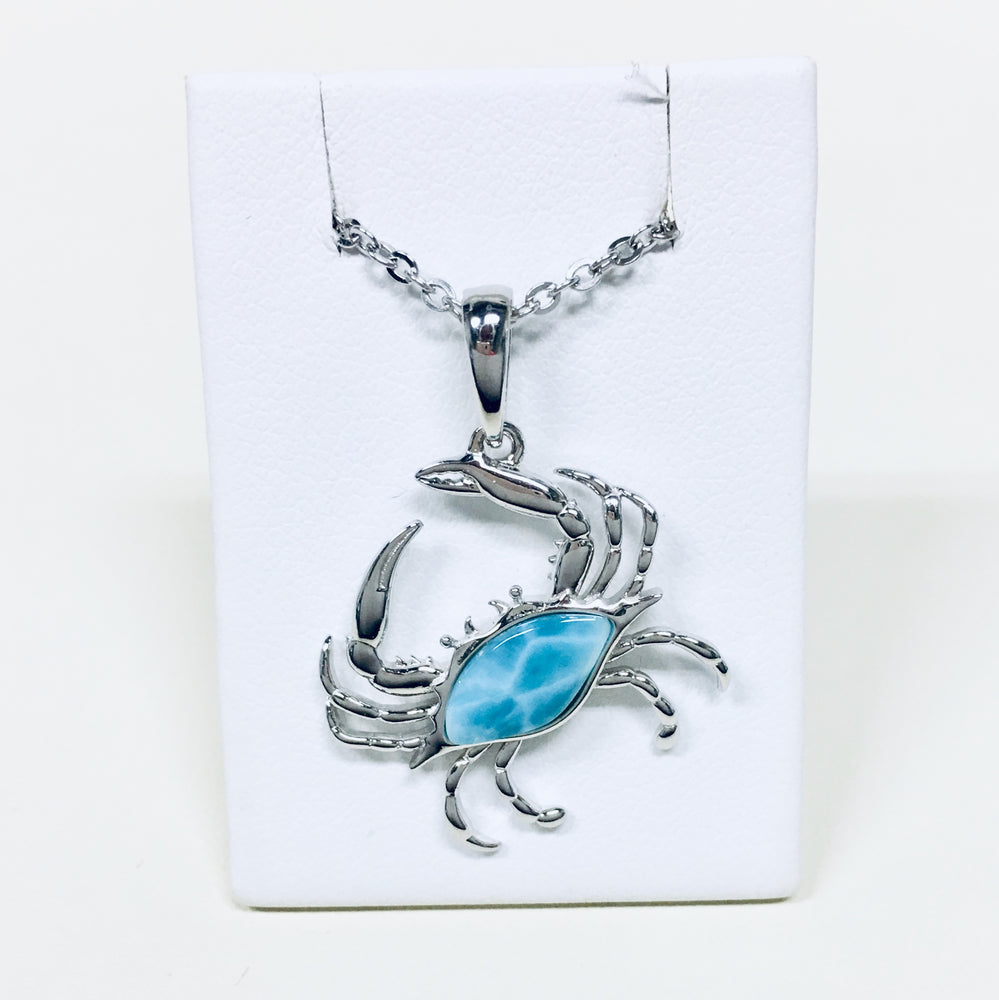 Larimar Blue Crab Necklace