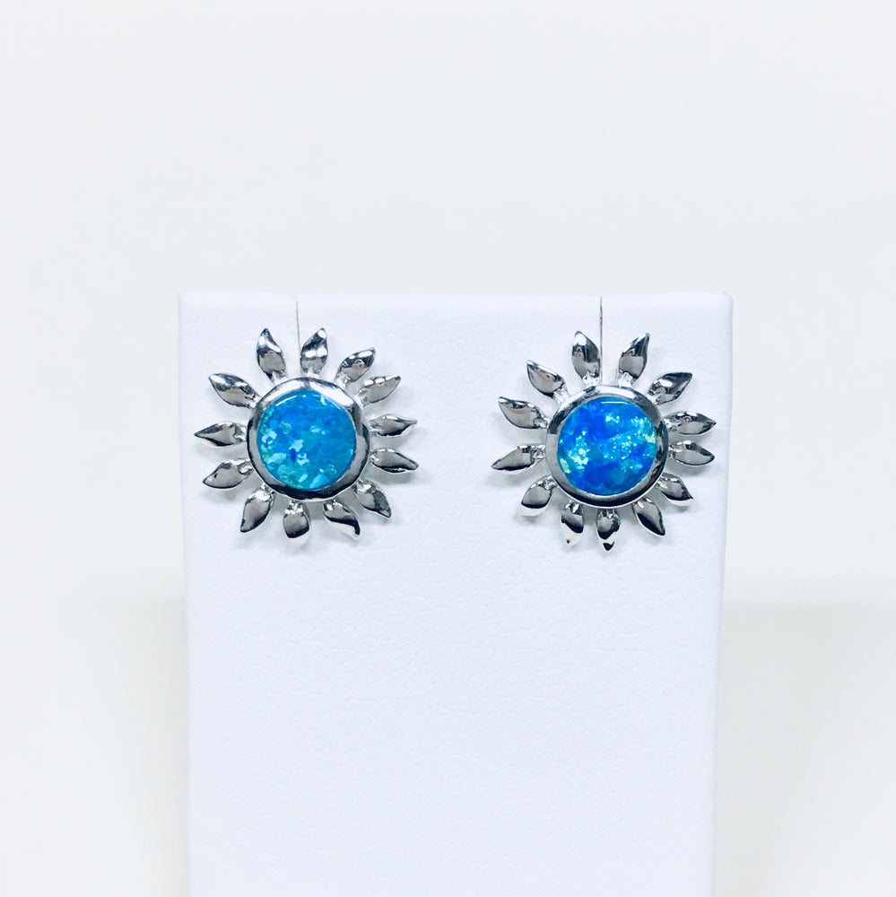Blue Opal Sunflower Earrings