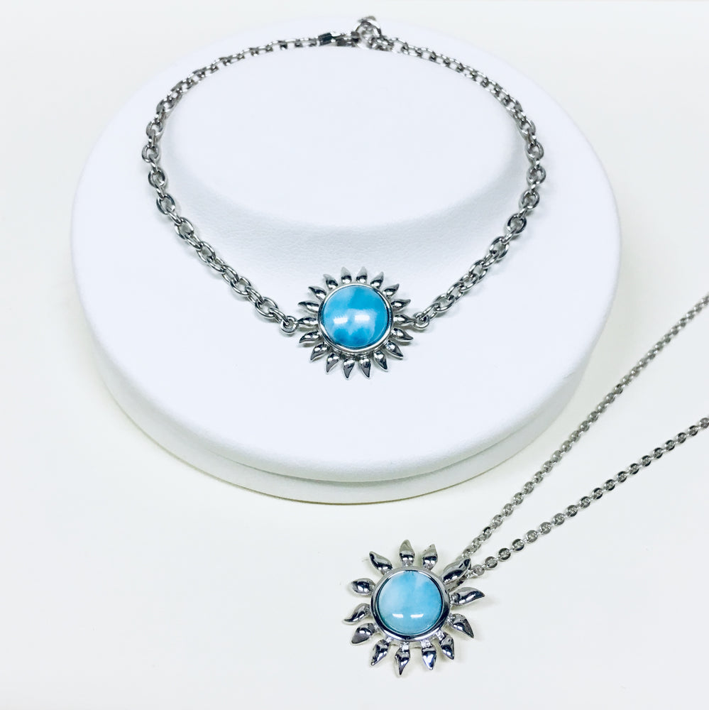Larimar Sunflower Necklace
