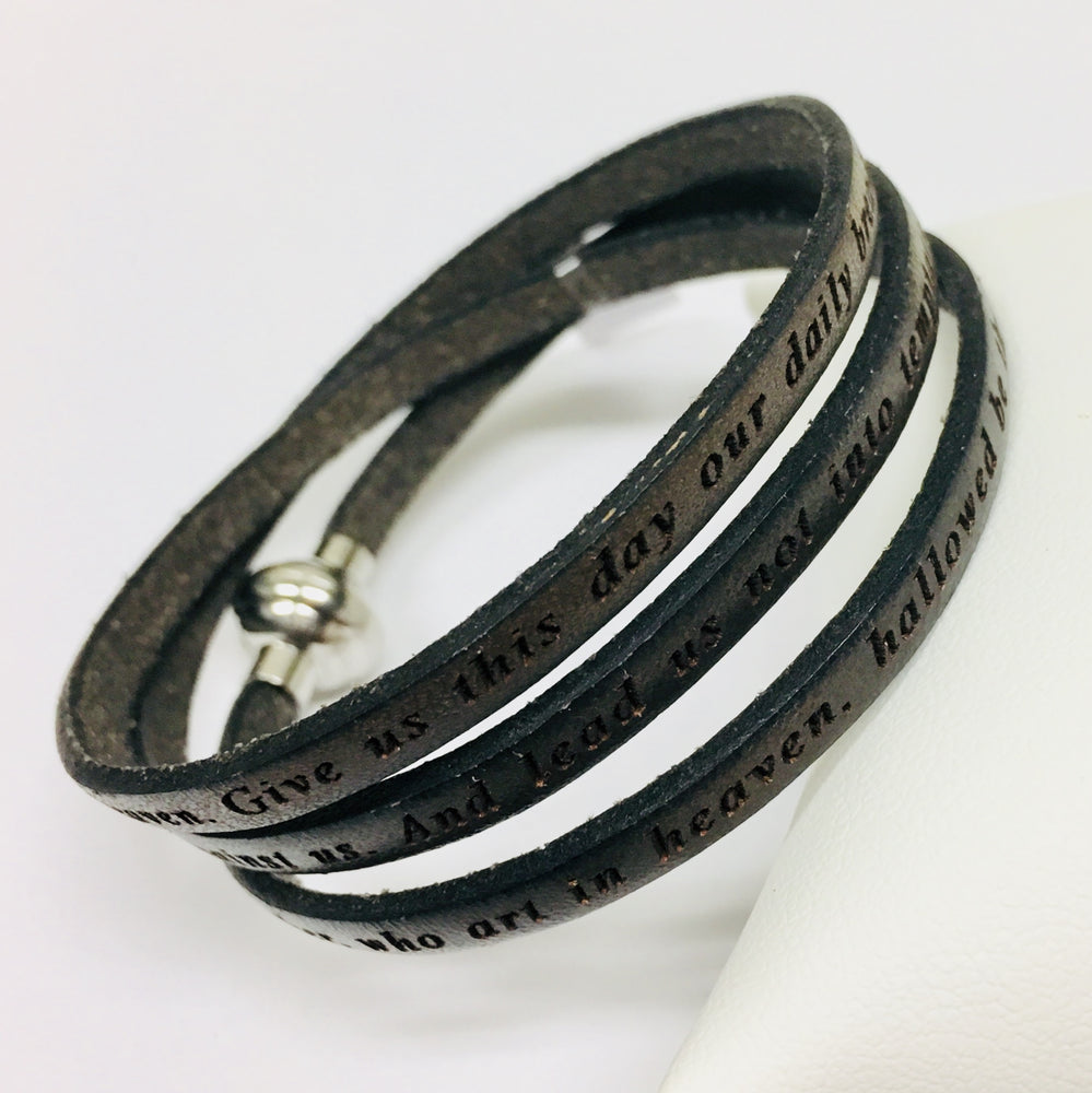 Lord's Prayer - Mud Leather Wrap Bracelet - M