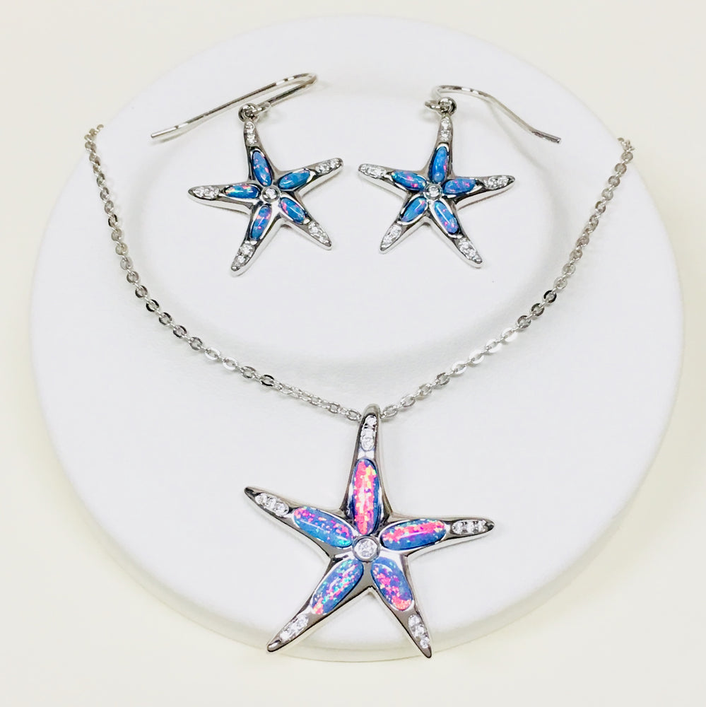 Opal Starfish Earrings and Necklace