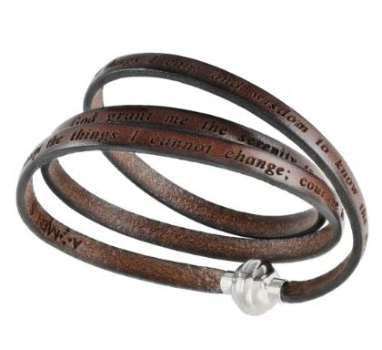 Serenity Prayer - Brown Leather Wrap Bracelet - M