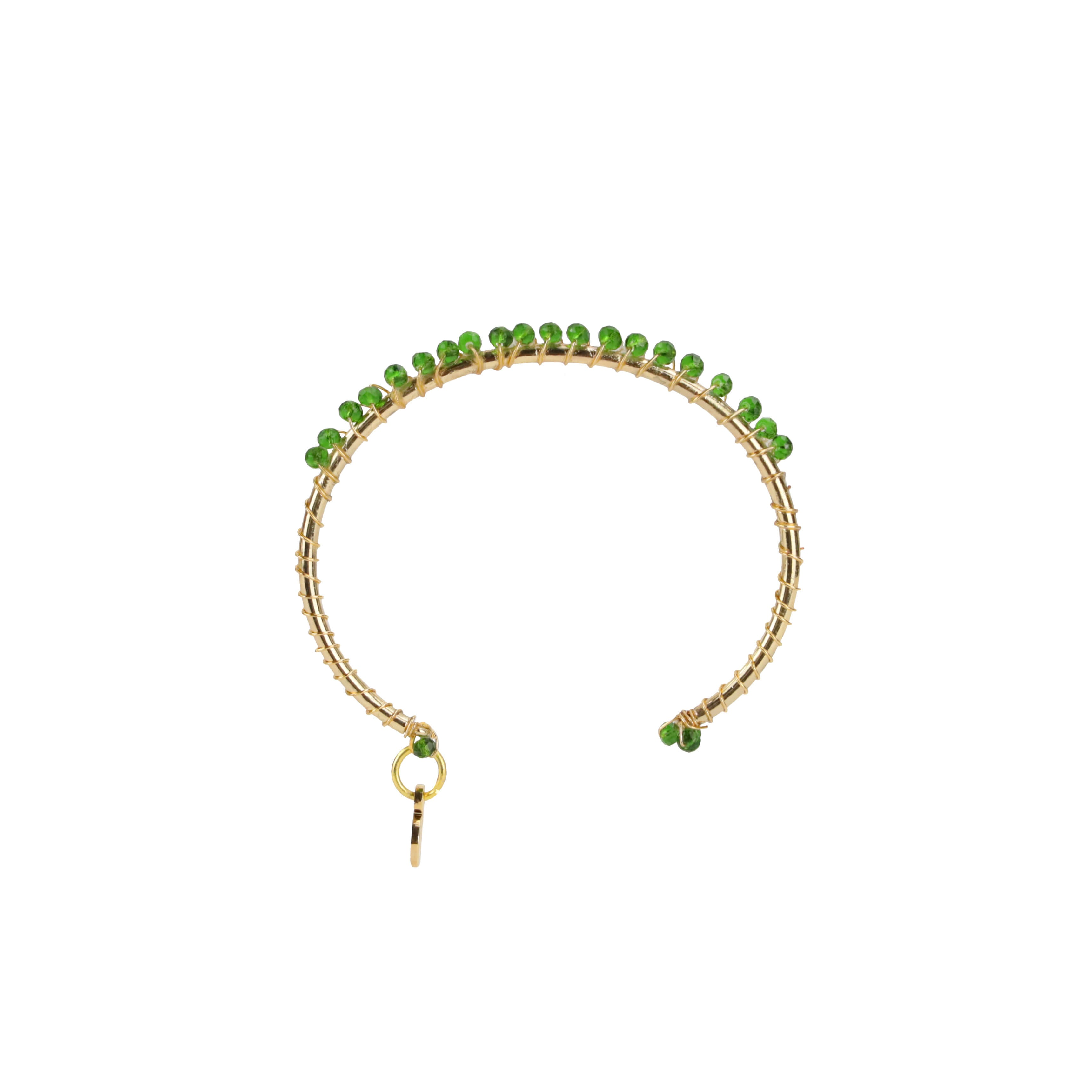 Anahata Gold Cuff Bracelet For Women - Green Quartz | BuDhaGirl