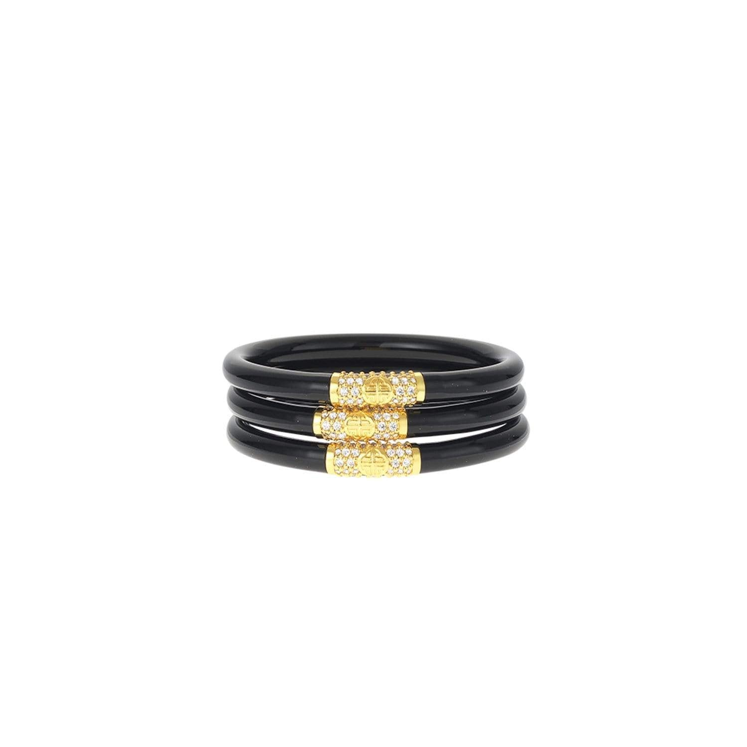 Black All Weather Bangles® (AWB®) - Gold Bead - BuDhaGirl