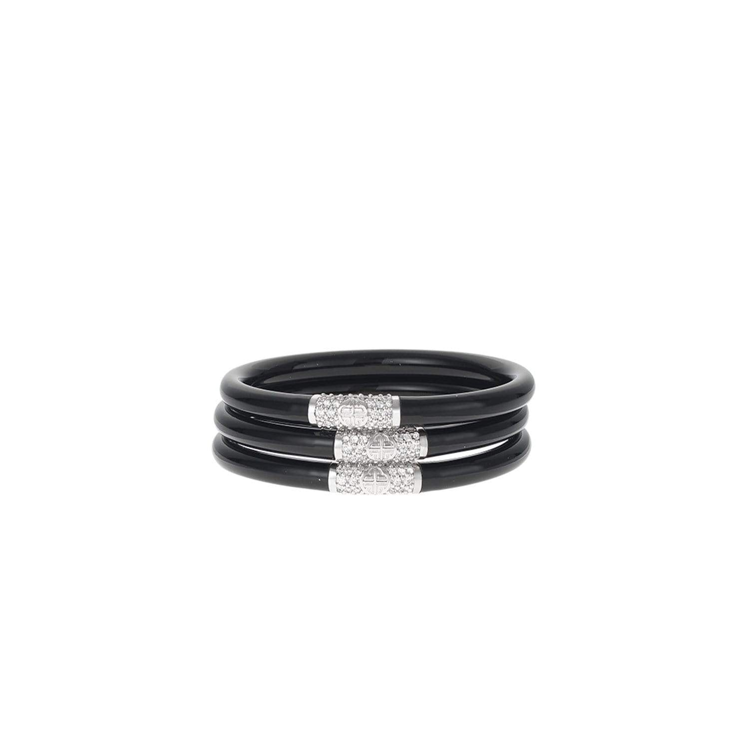 Black All Weather Bangles® (AWB®) - Silver Bead - BuDhaGirl