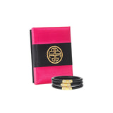 Black All Weather Bangles™ (AWB™) - Gold Bead - BuDhaGirl