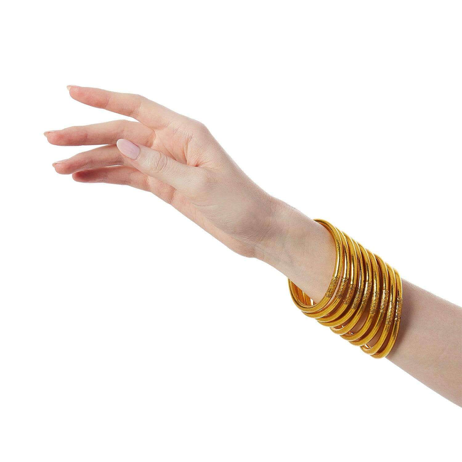 Gold All Weather Bangle - Serenity Prayer (styled on hands) - BuDhaGirl