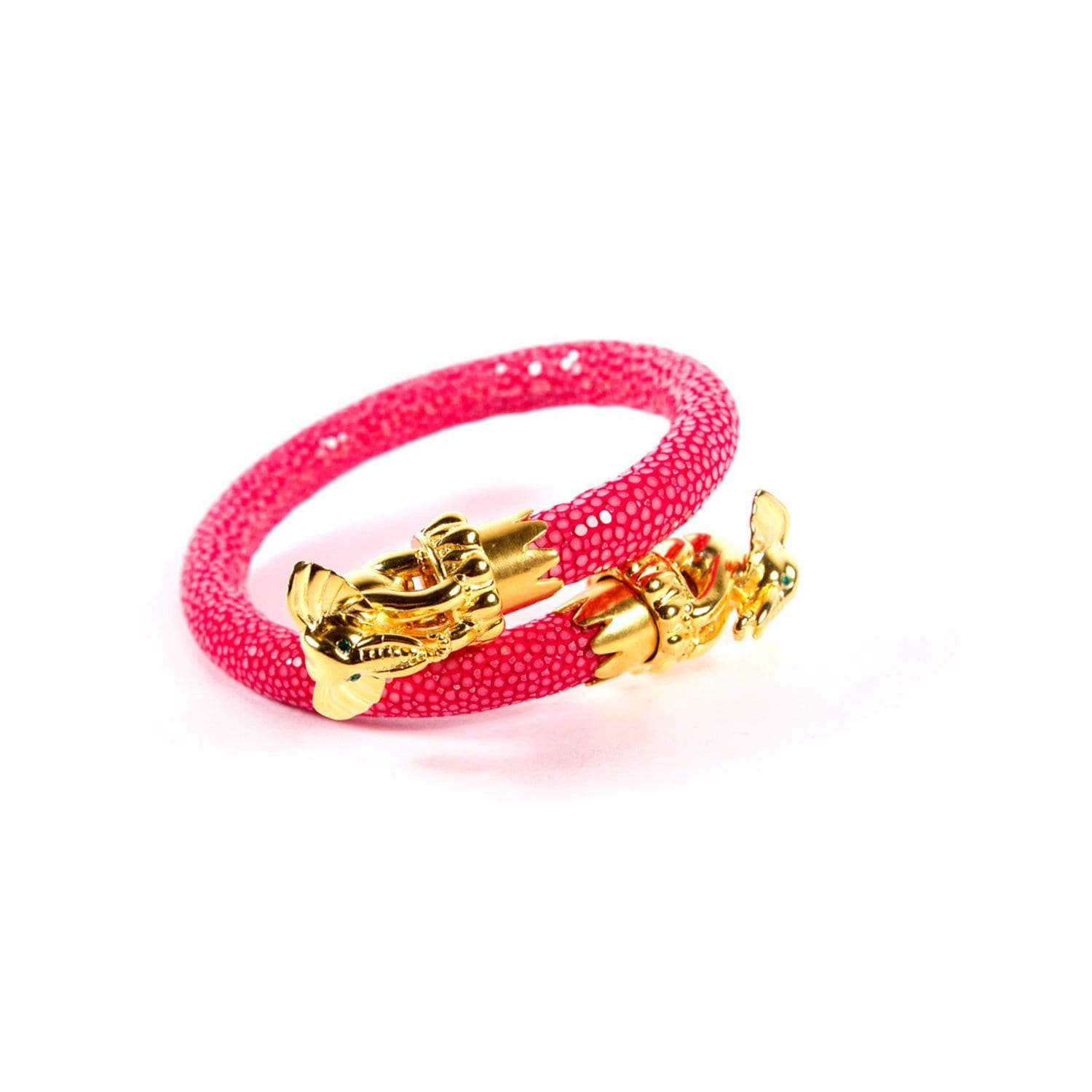 Ganesha End Caps on Pink Stingray Wrist Wrap | BuDhaGirl