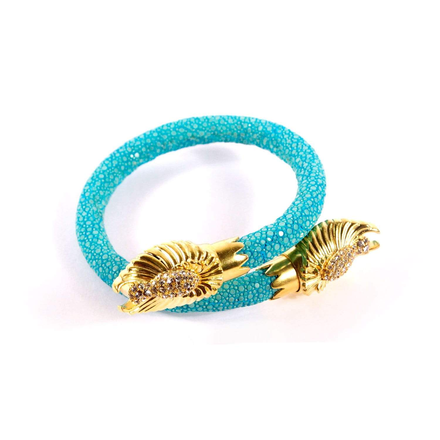 Angel Wing End Caps on Turquoise Stingray Wrist Wrap | BuDhaGirl