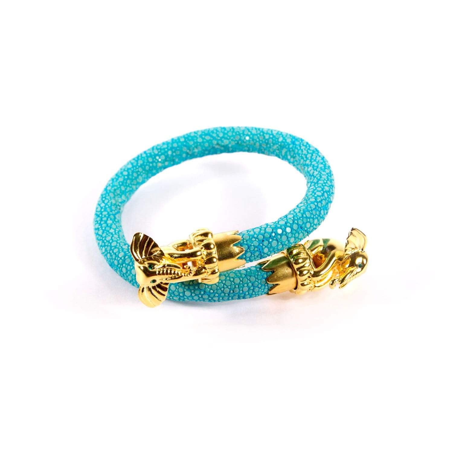 Ganesha End Caps on Turquoise Stingray Wrist Wrap | BuDhaGirl