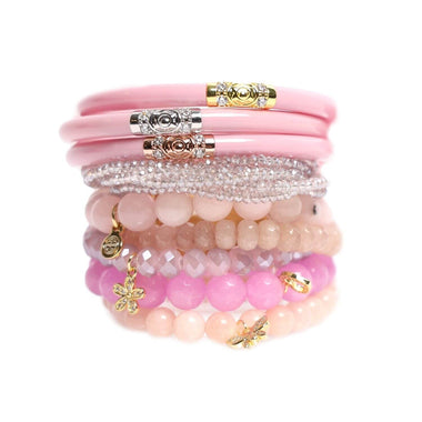 Three Kings Pink All Weather Bangle, Meghan Crystal Clear beaded bracelet, and Pink Chamonix Bianca Beaded Bracelet Stacked | BuDhaGirl