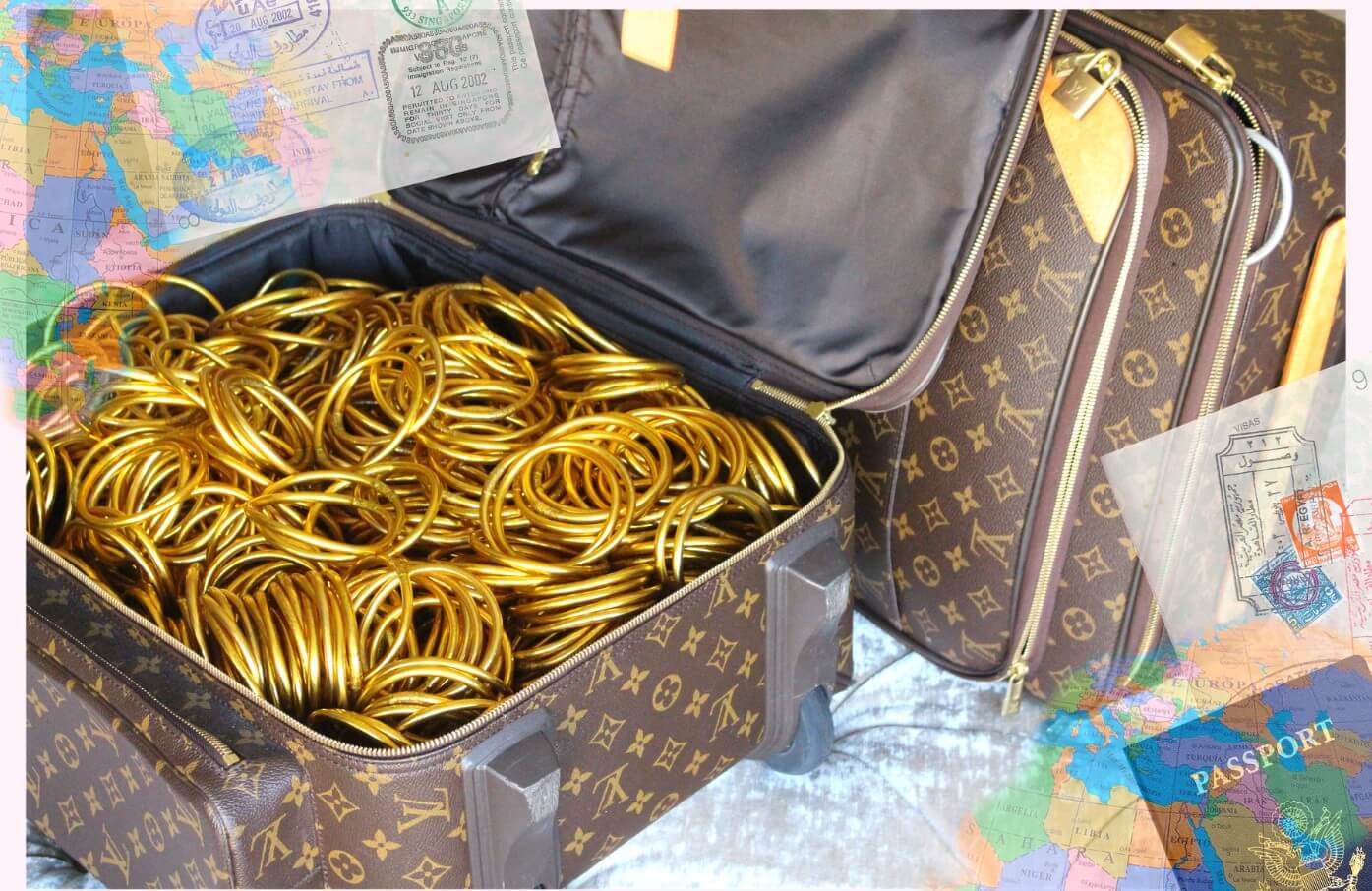 Louis vuitton bag filled with gold bangles | BuDhaGirl