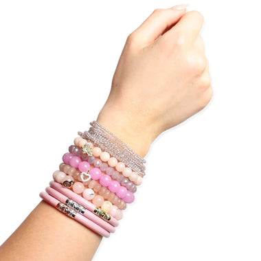 Three Kings Pink All Weather Bangle, Meghan Crystal Clear beaded bracelet, and Pink Chamonix Bianca Beaded Bracelet Styled on hand | BuDhaGirl