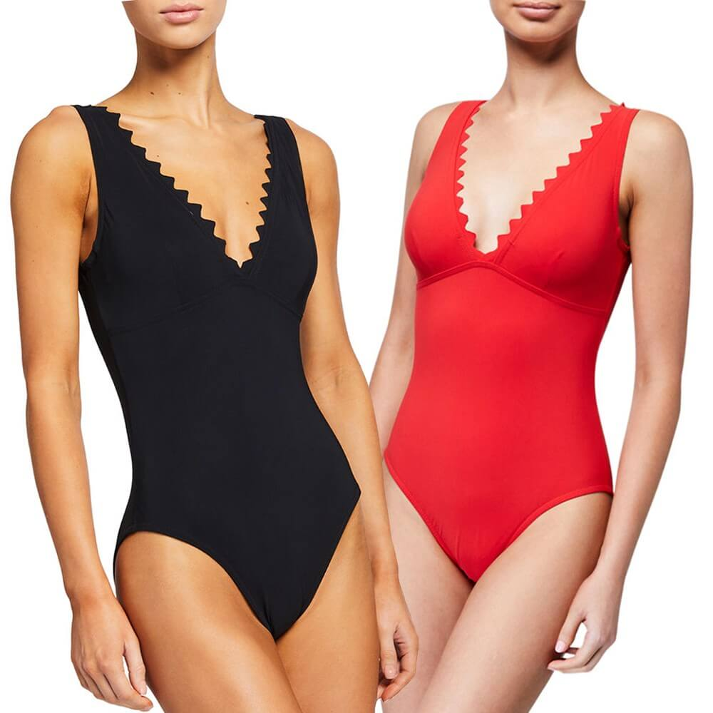 Karla Colletto Black/Red One Piece Swimsuit