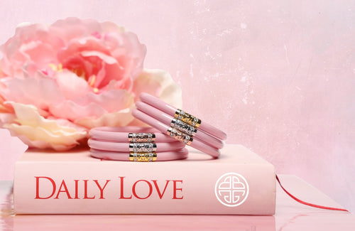 Pink Three Kings All Weather Bangles on Daily Love Book and Lotus Image | BuDhaGirl