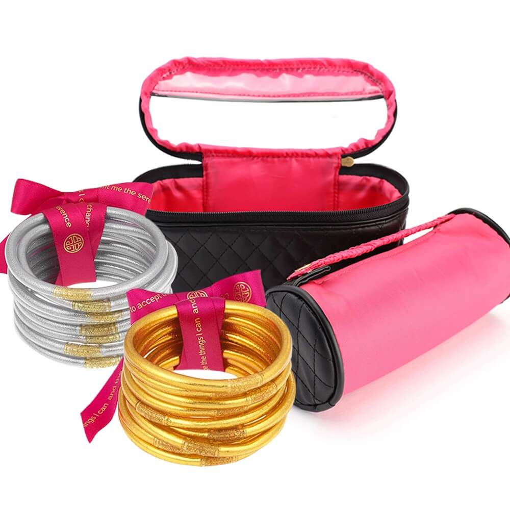 Gold All Weather Bangles, Silver All Weather Bangles and Travel Case from BuDhaGirl