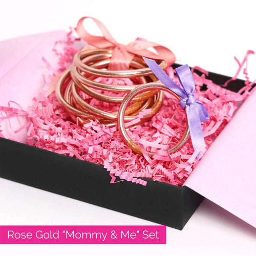 Rose Gold All Weather Bangles and rose gold baby bangle bundle for mother's day 2021 | BuDhaGirl